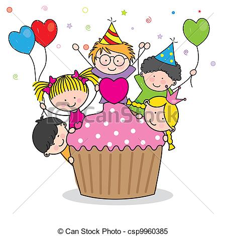 birthday party drawing for kids ; celebrating-birthday-party-clipart-vector_csp9960385