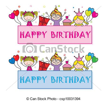 birthday party drawing for kids ; celebrating-birthday-party-drawing_csp10031394