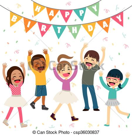 birthday party drawing for kids ; children-happy-birthday-party-eps-vectors_csp36030837