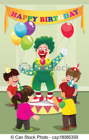 birthday party drawing for kids ; clown-carrying-balloons-to-kids-birthday-clipart-vector_csp18085359