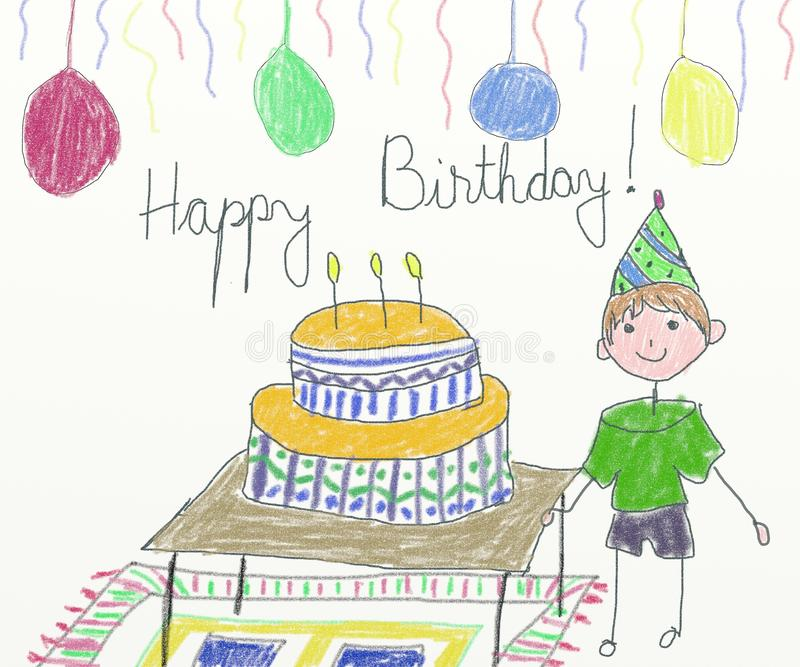 birthday party drawing for kids ; happy-birthday-card-children-drawing-41280168