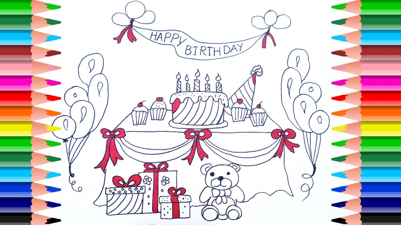 birthday party drawing for kids ; maxresdefault