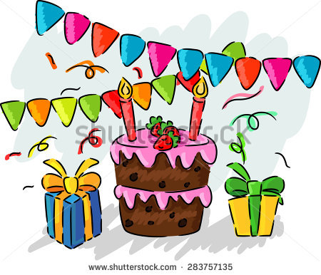 birthday party drawing for kids ; stock-photo-birthday-party-hand-drawing-kids-283757135