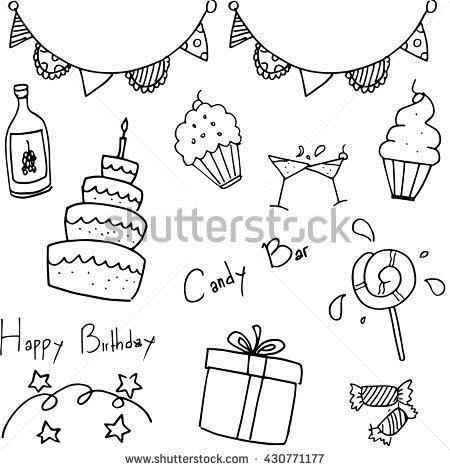 birthday party drawing for kids ; stock-vector-birthday-party-doodle-for-kids-vector-illustration-430771177