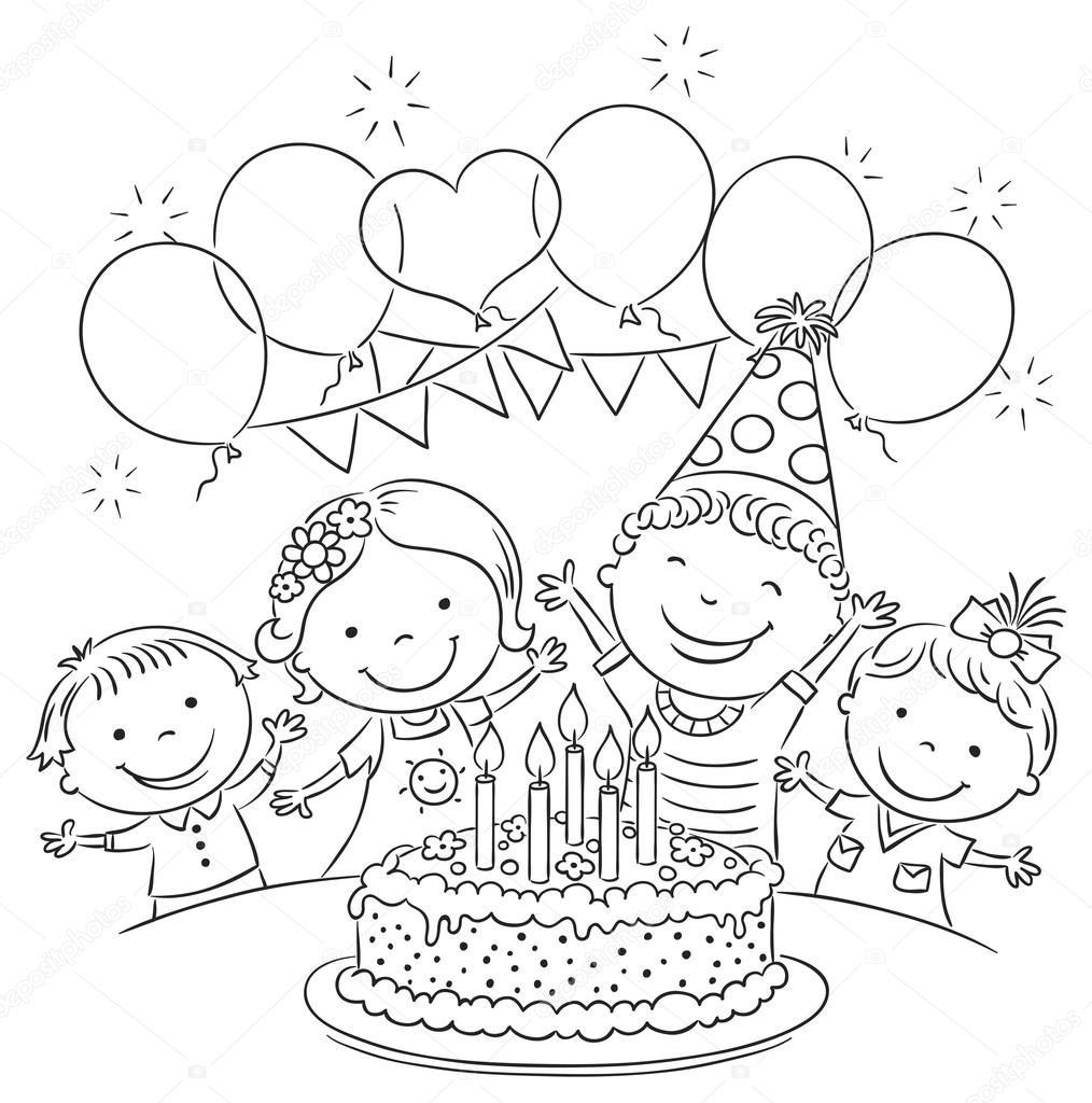 birthday party drawing step by step ; depositphotos_69001199-stock-illustration-kids-birthday-party-outline