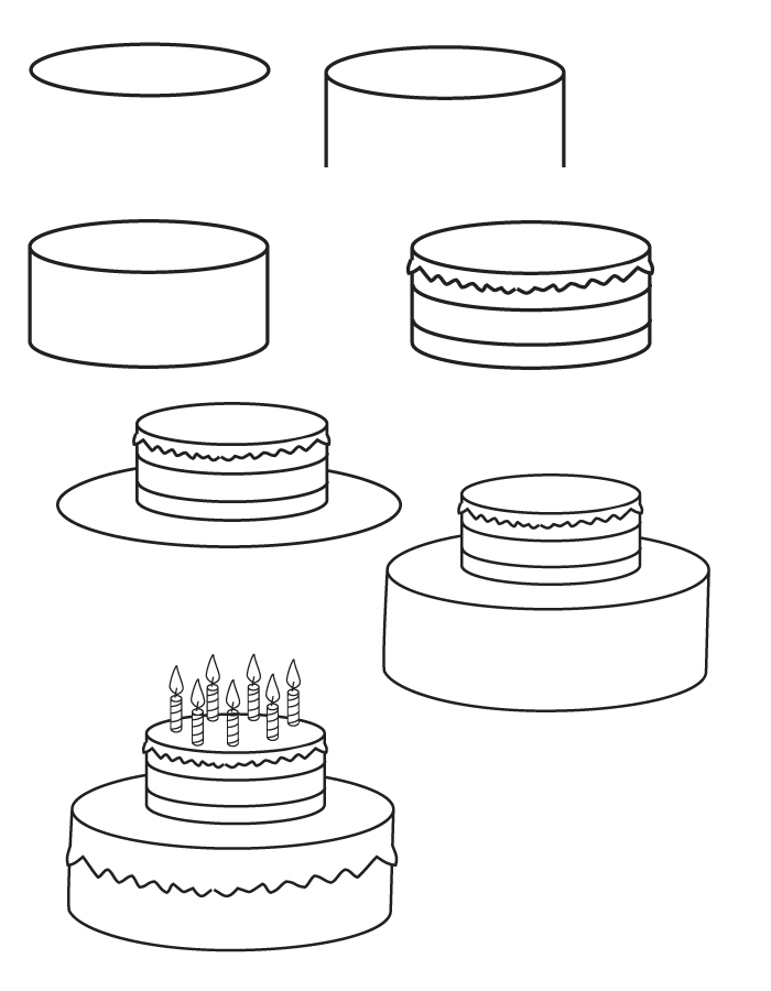 birthday party drawing step by step ; drawing-birthday-cake