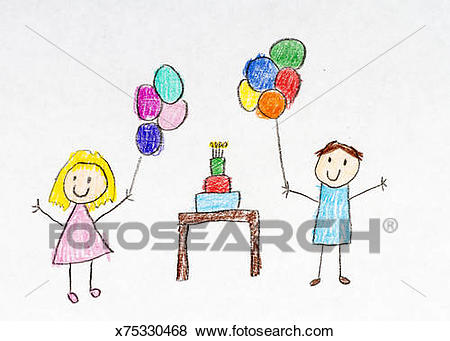birthday party drawing step by step ; kids-drawing-of-birthday-party-stock-illustration__x75330468