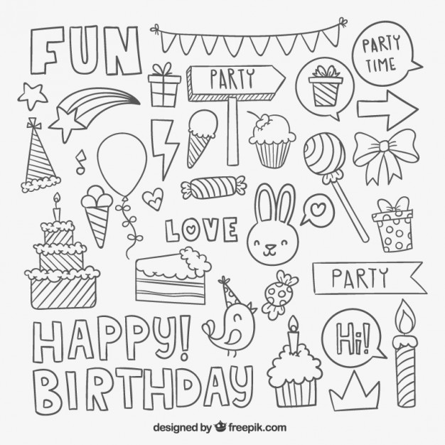 birthday party drawing step by step ; sketchy-birthday-party-elements_23-2147511695