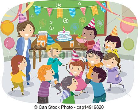 birthday party drawing step by step ; stickman-kids-school-birthday-party-illustration_csp14919820