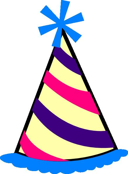 birthday party hat clipart ; birthday-hat-blue-purple-pink-yellow-hi