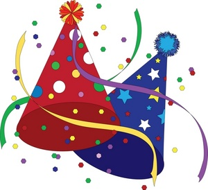 birthday party hat clipart ; birthday_party_hats_with_streamers_and_confetti_used_in_a_celebration_0515-0812-2214-4752_SMU