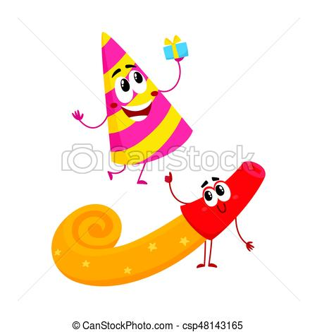 birthday party hat clipart ; smiling-birthday-party-characters--clip-art-vector_csp48143165