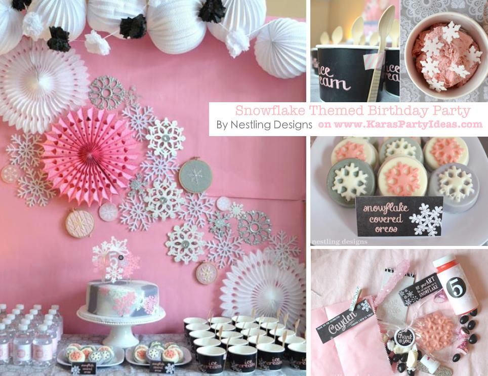birthday party ideas and themes ; Snowflake-themed-birthday-party-via-Karas-Party-Ideas-KarasPartyIdesa