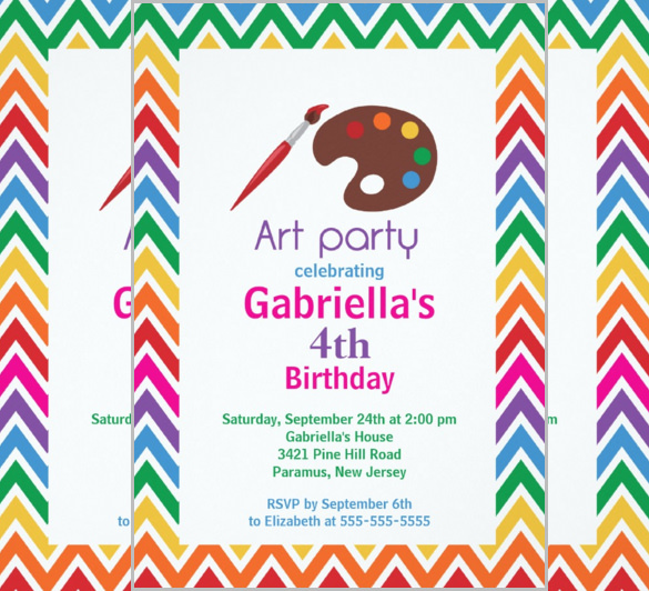 birthday party invitation card template free ; Arts-Crafts-Kids-Birthday-Party-Invitation-Card