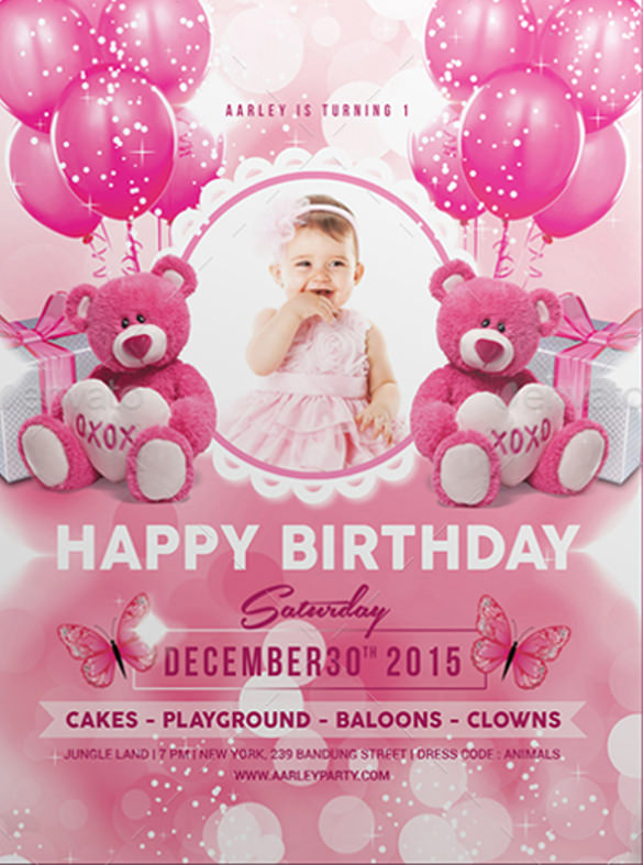 birthday party invitation card template free ; Pink-Kids-Birthday-Party-Invitation