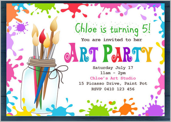 birthday party invitation card template free ; Simple-Art-Party-Invitation-for-Kids-