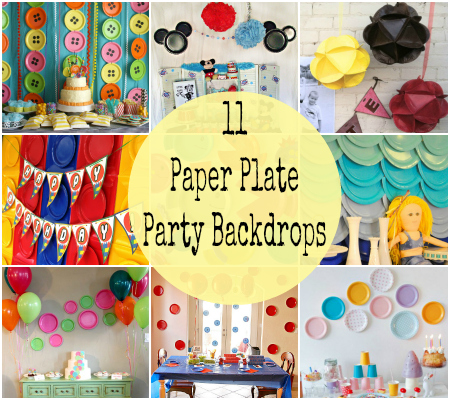 birthday party picture backdrops ; Paper-Plate-Party-Backdrop-