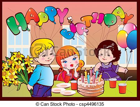 birthday party scene drawing ; happy-birthday-party-clipart-vector_csp4496135