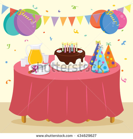 birthday party scene drawing ; stock-vector-birthday-party-vector-illustration-of-kid-birthday-party-434629627