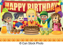 birthday party scene for drawing ; -eps-vectors_csp7729283