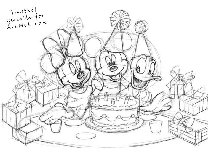 birthday party scene for drawing ; How-to-draw-a-birthday-party-step-3