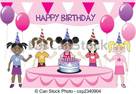 birthday party scene for drawing ; birthday-drawing-for-kids-kids-party-3-a-girls-birthday-party-with-cake-five-young-eps-shoes-pictures-to-color