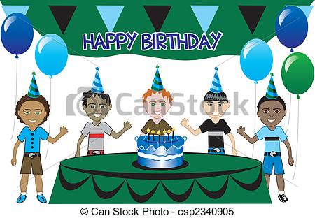 birthday party scene for drawing ; kids-party-4-clipart-vector_csp2340905