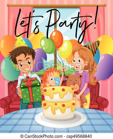 birthday party scene for drawing ; scene-with-birthday-party-with-family-eps-vector_csp49568840