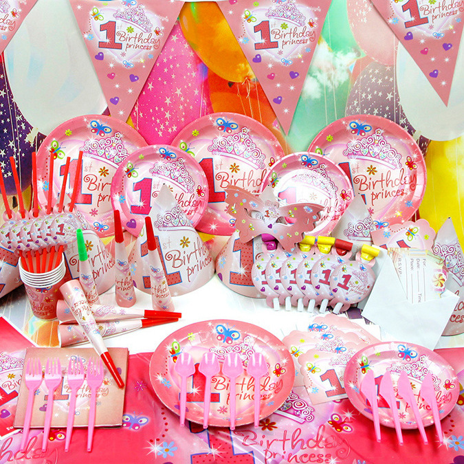 birthday party themes for 1 year old ; Children-s-Birthday-Party-Supplies-1-Year-Old-Baby-Girl-Birthday-Party-Decoration-Props-Wholesale-Party