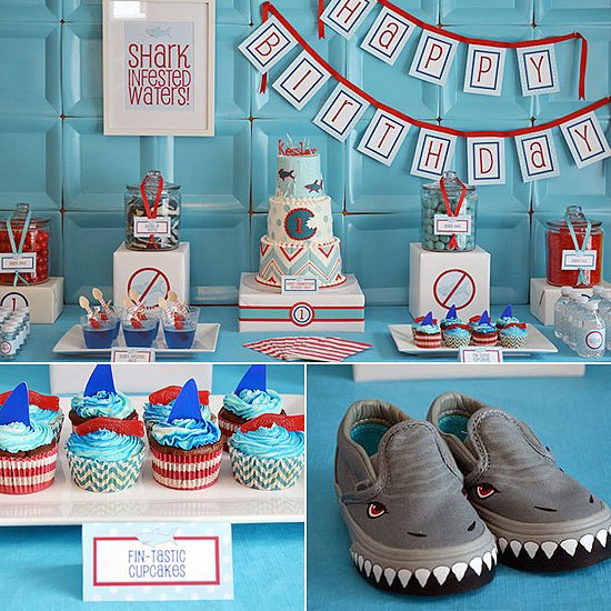 birthday party themes for 1 year old ; Shark-Attack