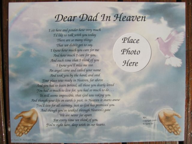 birthday poem for dad in heaven from daughter ; 9d640e956f481f4604af903136d94881