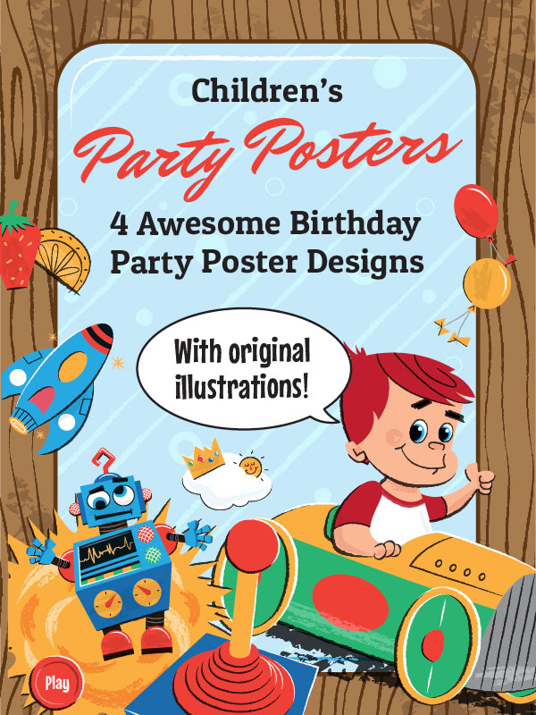 birthday poster making ; Childrens-Birthday-Party-Posters-by-Wings-Art-and-Design-Studio6
