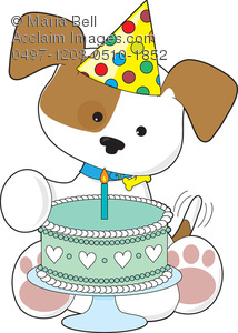 birthday puppy clipart ; 0497-1203-0510-1852_puppy_with_a_birthday_cake
