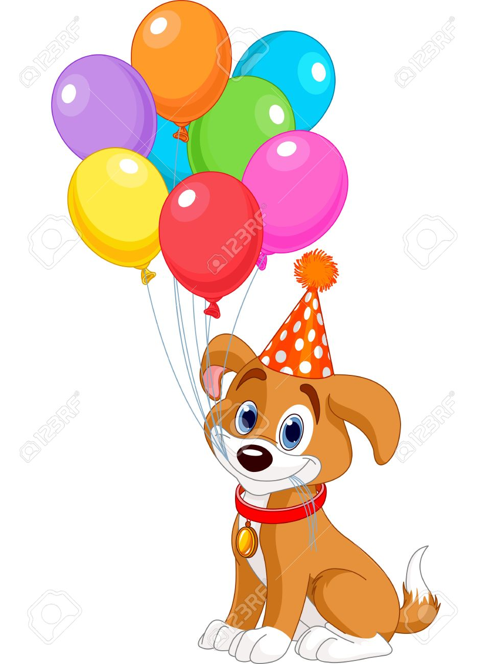 birthday puppy clipart ; 20343210-cute-puppy-with-birthday-balloons-and-party-hat