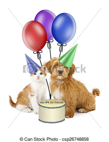 birthday puppy clipart ; puppy-and-kitten-birthday-party-stock-images_csp26748858