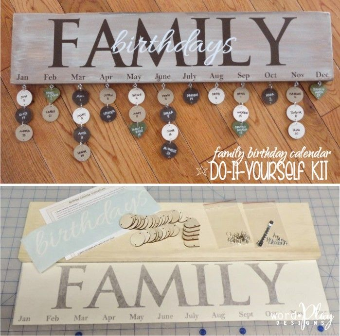 birthday tag calendar ; family-birthday-calendar-do-it-yourself-kit-includes-6x24-wood-wooden-birthday-calendars