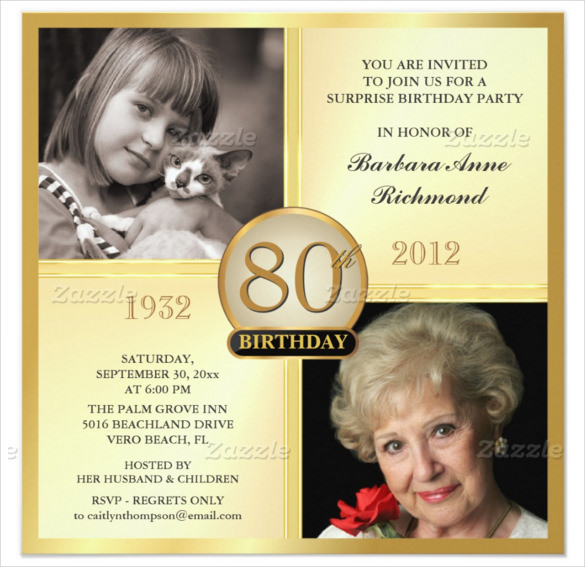 birthday tarpaulin design for grandmother ; Gold-80th-Birthday-Invitations-With-Customizable-two-Photos-