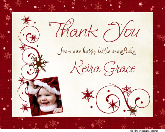 birthday thank you card message ; Chic-winter-snowflake-Thank-You-red-photo-1st-birthday-front