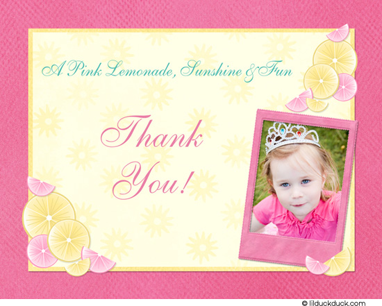 birthday thank you card message ; Pink-Lemonade-Thank-you-1-photo-front-l
