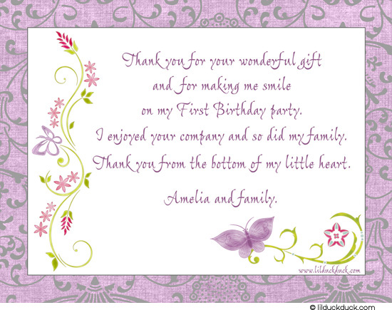 birthday thank you card message ; chic-butterfly-thank-you-1st-birthday-wording-back