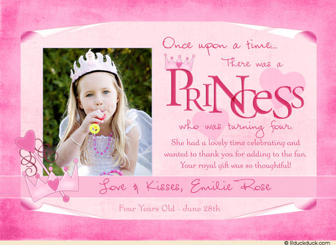 birthday thank you card message ; little-princess-thank-you-card-photo-all-pink-4th-birthday