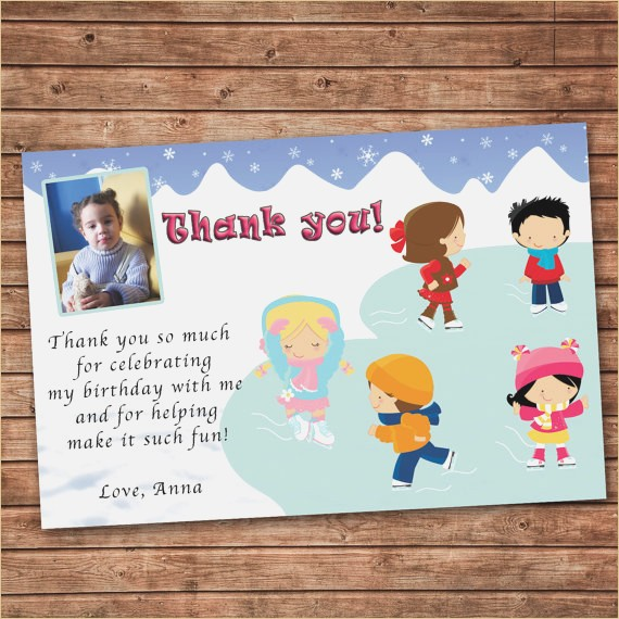birthday thank you card message ; personalized-any-wording-thank-you-card-ice-skating-winter-of-kids-birthday-thank-you-cards