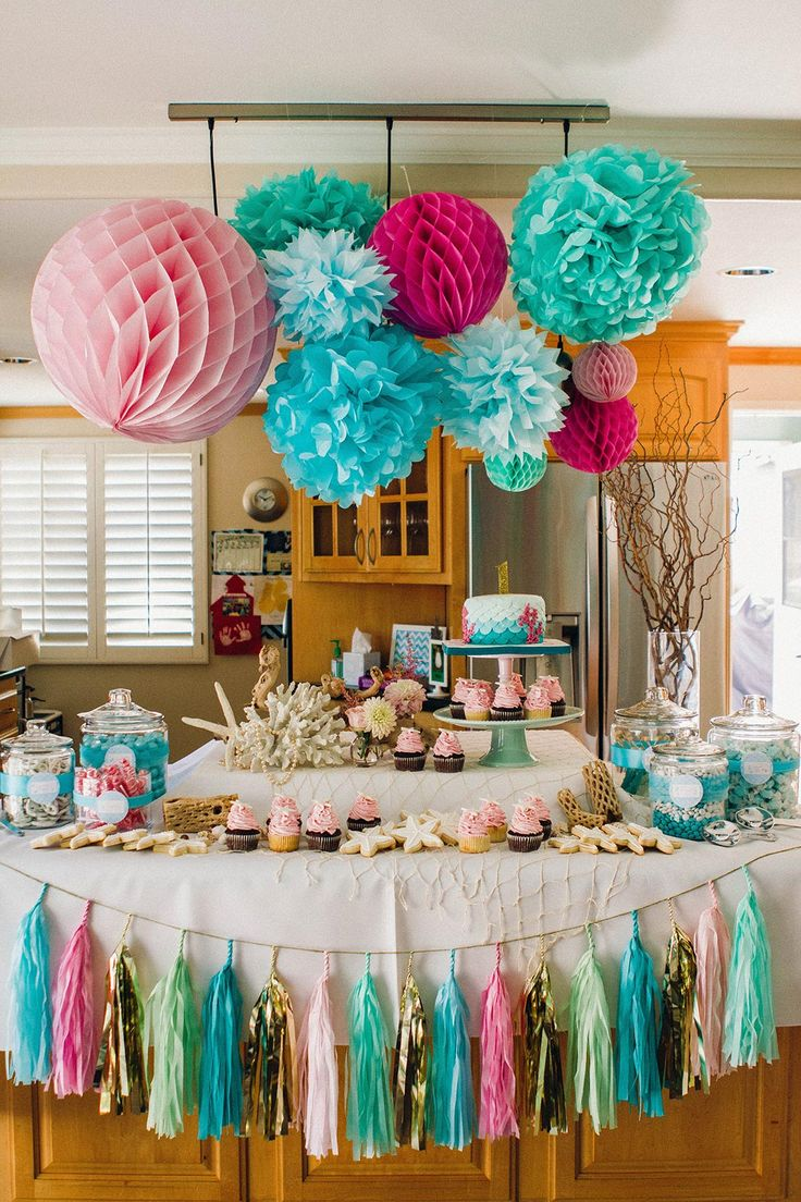 birthday theme decoration ; fd83293e39c054a388d0ce50d8bf815a--mermaid-themed-party-mermaid-parties