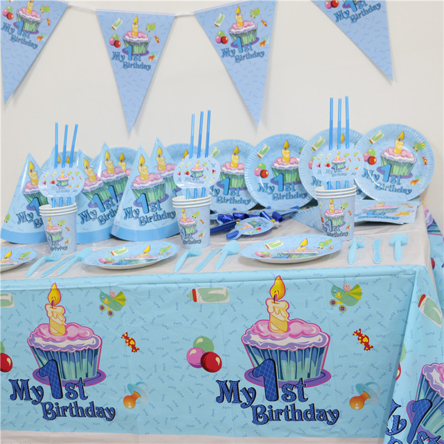 birthday theme party for baby boy ; 102pcs-Kids-First-Birthday-Party-Set-10-people-Girl-Boy-1st-Birthday-Theme-Party-Supplies-Baby