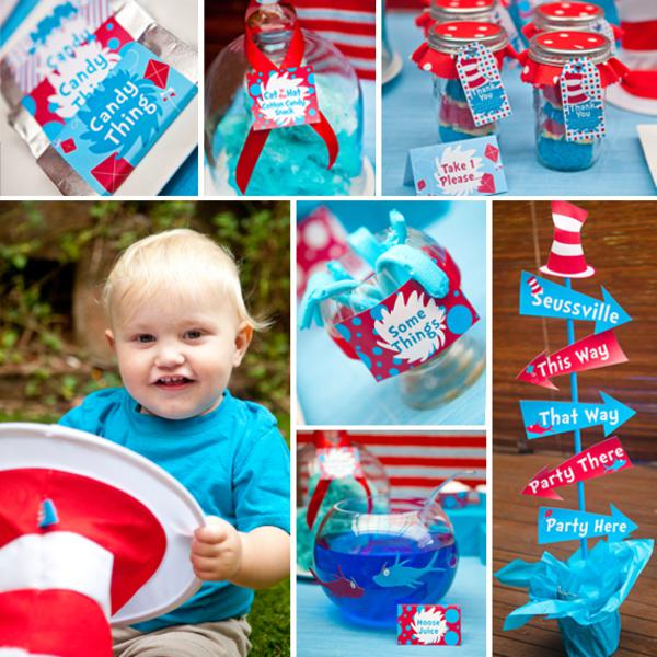 birthday theme party for baby boy ; Dr-Seuss-Party_collage_600x600