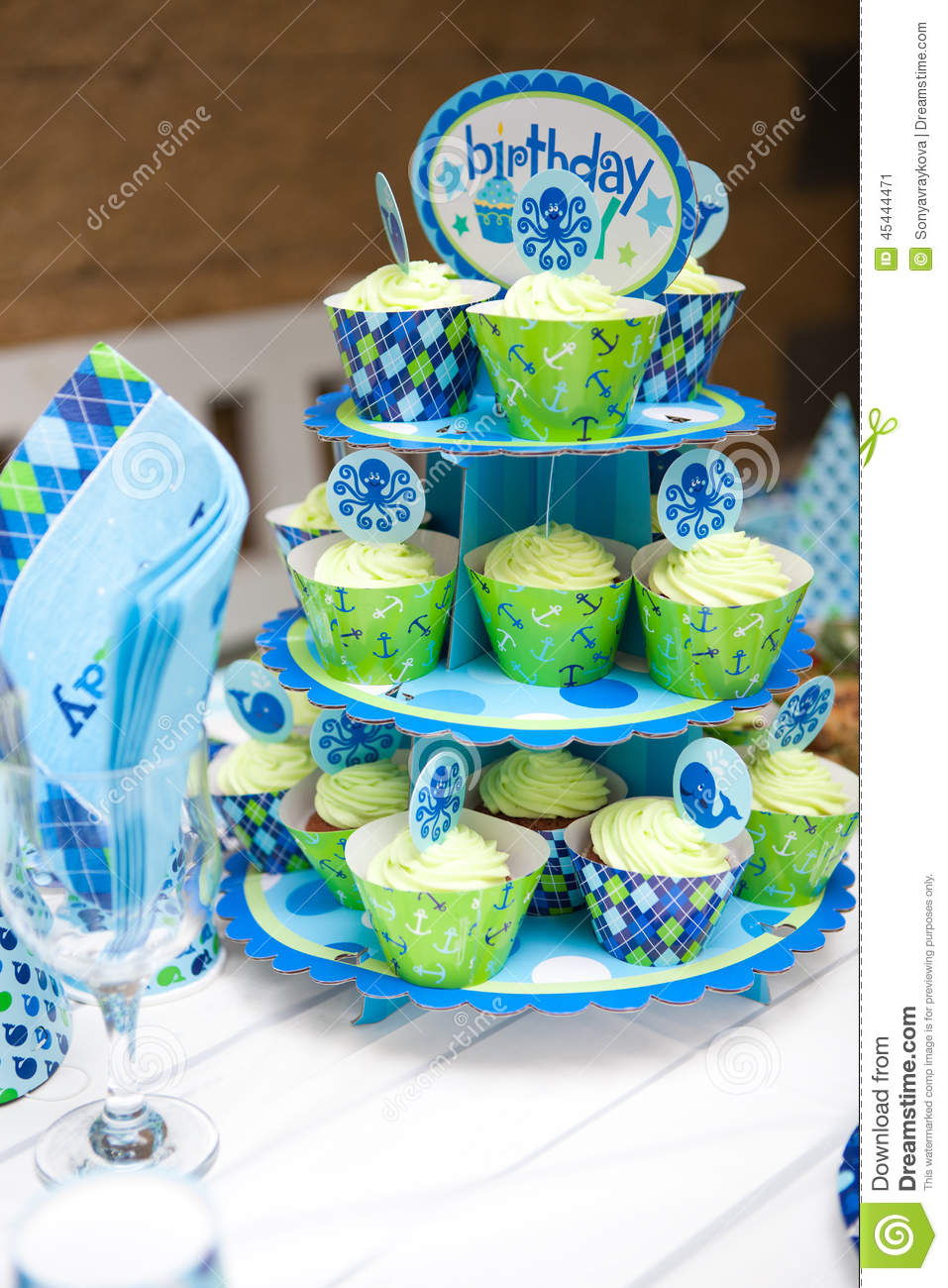 birthday theme party for baby boy ; baby-boy-first-birthday-party-table-set-marine-theme-outdoor-45444471