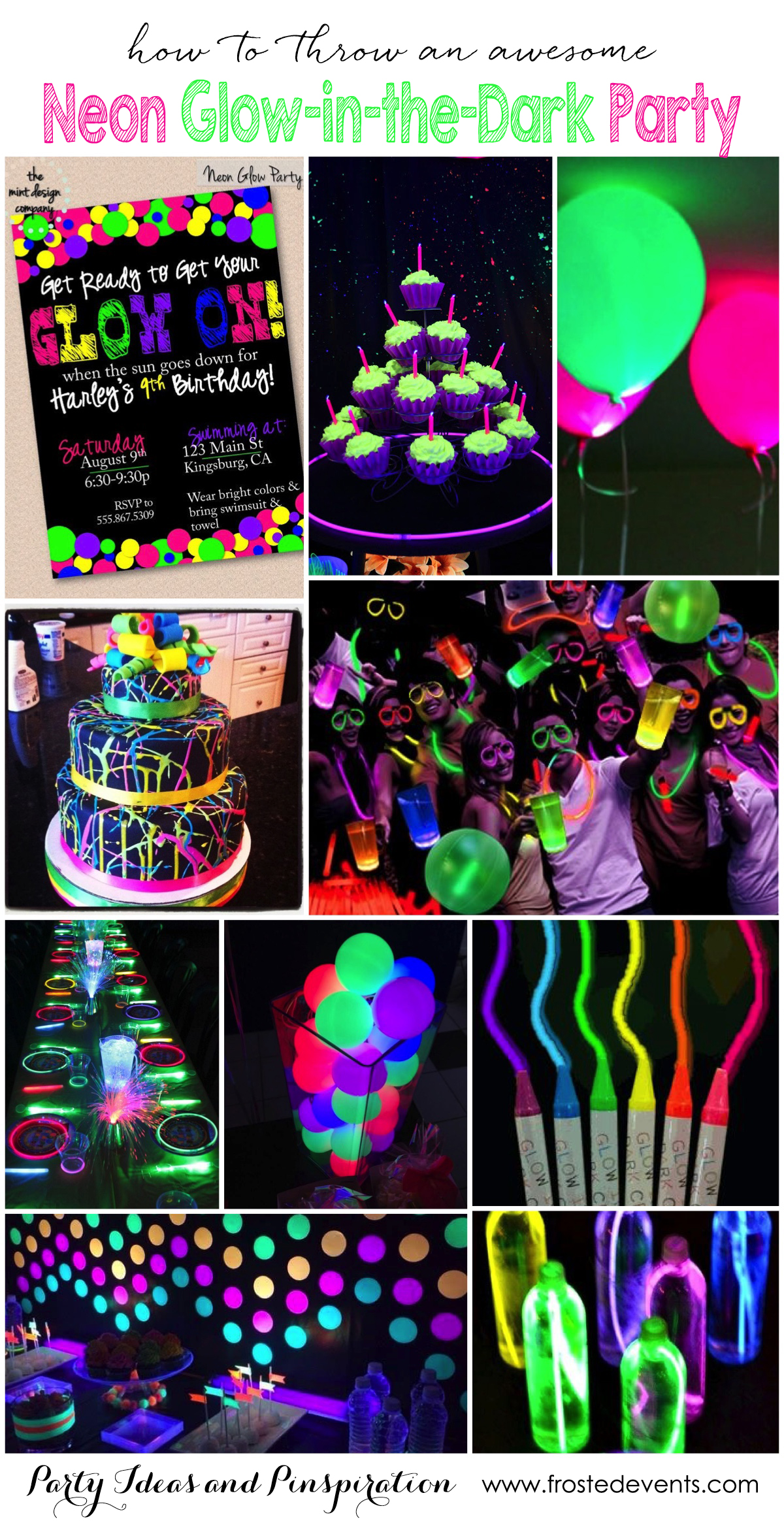 birthday themes and ideas ; neon-glow-in-the-dark-party-ideas-inspiration-kids-teen-birthday-party-frostedeventscom