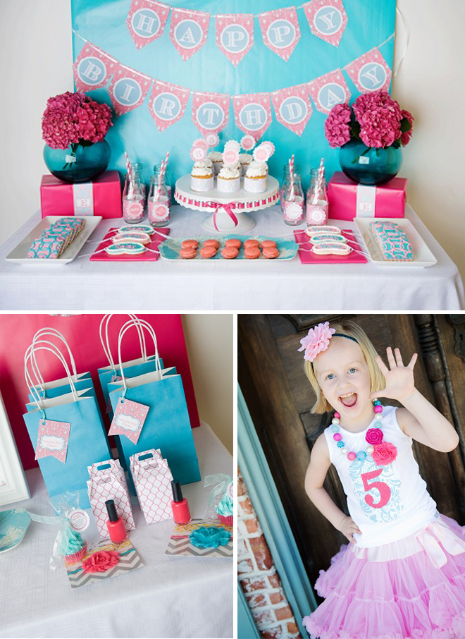 birthday themes for girls ; cute-spa-5th-birthday-party