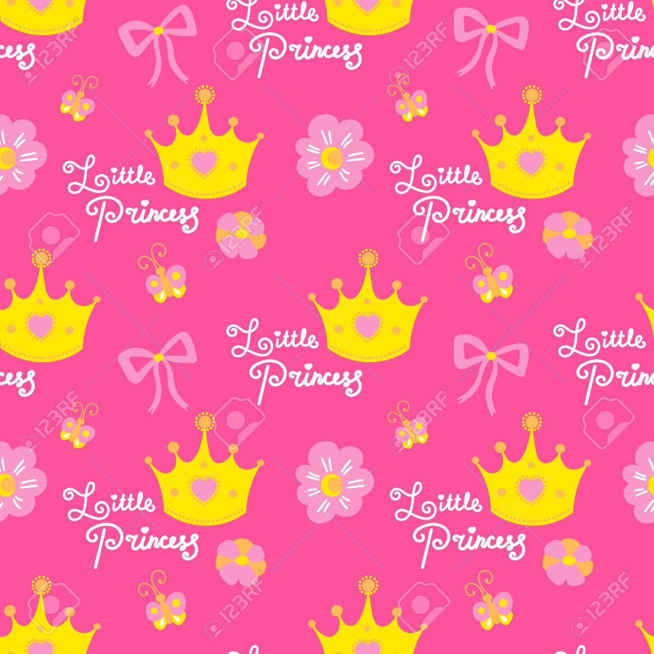 birthday wallpaper for baby ; 75733269-little-princess-pattern-vector-pink-girl-background-for-children-birthday-card-baby-shower-invitatio