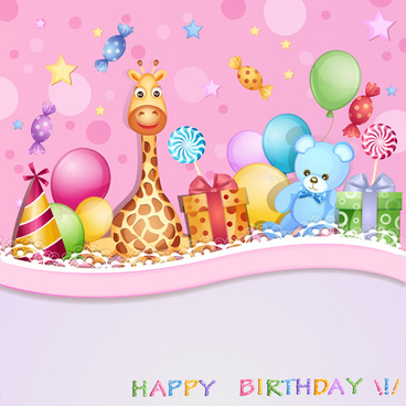 birthday wallpaper for baby ; happy_birthday_baby_cards_cute_design_vector_548356